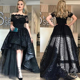 Modest Black High Low Lace Prom Dresses 2019 Bateau Short Sleeve A Line Short Front Long Back Evening Party Pageant Gowns Cheap Vestidos nereden