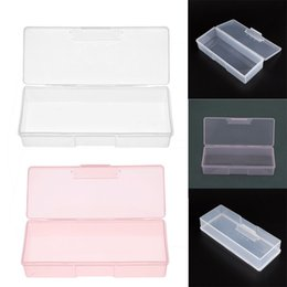 Wholesale File Box Storage Organizer - Plastic Transparent Nail Tools Storage Box Nail Rhinestone Decorations Buffer Files Grinding Organizer Case Box 193x80x39mm