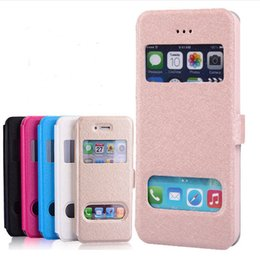 Cassa della finestra di iphone 5s online-Per il caso di iphone 7 Flip view doppio doppio Open window case PU custodia in pelle con supporto stand per iphone 4S 5 5S 6 6s plus 7 plus vendita