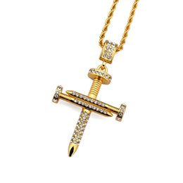 Wholesale Gold Nail Rhinestones - 18K Yellow Gold Plated Europe and America New Trendy Personality Nail Design Cross Necklace for Men Women with AAA Rhinestone NL-248