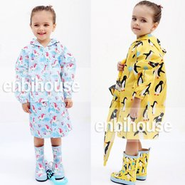 Wholesale Children Rain Coat Cartoon Animal - Kids Raincoat Cartoon One Piece Rainsuit Summer Penguin Bird for Boys Girls Hooded Jumpsuit Children Rain Gear