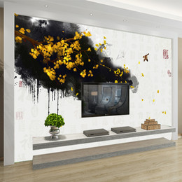 Wholesale vintage gold wallpaper - Custom photo Wall Mural Wallpaper Non-woven Mural Wall Hand Painted Chinese Gold Ginkgo Blessing TV Background Fresco Wallpaper