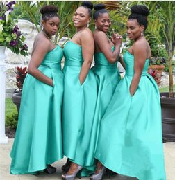 Wholesale Bridesmaid Luxury Sweetheart Dress - Luxury Satin Sweetheart Junior Bridesmaid Dresses Turquoise Wedding Party Gowns Cheap Backless Arabic Maid of honor Dress 2017 Custom Made