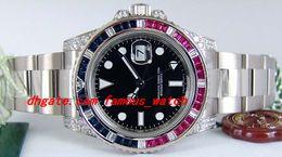 Bracelets en diamant saphir en Ligne-Bracelet en acier inoxydable avec cadran noir Saphir Rubis Diamond Lunette 116759 Montre avec bracelet mécanique automatique MAN WATCH Montre