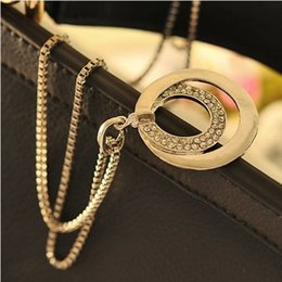 Wholesale Long Fashion Rings Diamonds - 2017 Women Sweet Fashion Pendant Necklaces Elegant Temperament Diamond Silver Round Long Necklace Alloy Double Ring Sweater Chain Jewelry