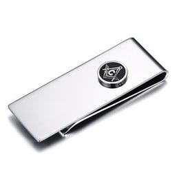 Wholesale Material Jewelry - SHARDON Masonic Money Clip Jewelry Birthday Gifts For Men high quality stainless steel material accept customized