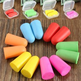 Wholesale Protectors Earplugs - 7 Colors Memory Sponge Ear Plugs Soft Sleep Work Travel Earplugs Noise Reducer bullet shape Foam Earplug Keeper Protector