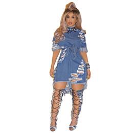 Argentina Vestido de Jeans Elegantes Tallas Grandes Casual Casual Corto Azul Agujero Corto Mujeres Estilo de la Calle de Verano Vestidos de Mezclilla Fiesta Casual XXL WT76122 Suministro