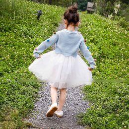 Wholesale Gauze Bow Vest Dress - Autumn Princess Girls Dress Set Long Sleeve Knit Sweater Ball Tops Pullover + Lace Tulle Gauze Vest Dresses 2pcs Sets Blue Green Pink A7225