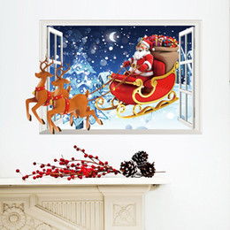 Wholesale Santa Claus Christmas Stickers - New Lovely Christmas Santa Claus Elk Deer Gift Wall Stickers Wall Decals for Kids Room Home Decorations free shipping