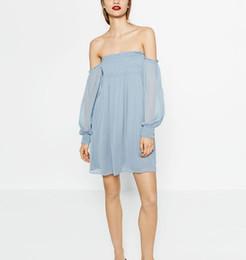 Wholesale Women Dress Skirt Wind - Summer wind in Europe and America new women clothing collar a word shoulder chiffon dress Fairy female skirt