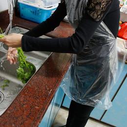Wholesale Plastic Aprons - Wholesale 100pcs lot Disposable aprons PE Garden Home plastic apron disposable single meal aprons independent