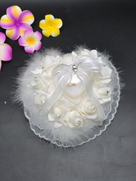 Wholesale wholesale ring pillow - Flower Ring Pillows White Color Lace Ribbon Beads Bridal Accessories Wedding Supplies Hand Made Flowers Wedding Accessories BD035