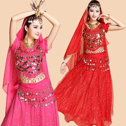 Wholesale India Bollywood - 4pcs Set Performance Adult Belly Dance Costume Sets Bollywood Gypsy Costumes Women Belly Dance India Egypt Dancing Dnacewear