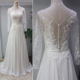 Wholesale Sheer Cover Beach Dress - Scoop Neck Lace Chiffon Beach Wedding Dress With Sheer Back 2018 Appliques Wedding Gowns New Casamento