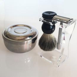 Wholesale Classic Shave - Safety Razor Pure Badger Wet Hair Shaving Brush + Classic Brush Holder + Brush Mug Bowl Kit