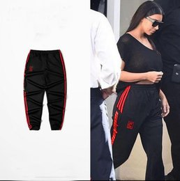 Wholesale Woman Capris - High Quality Kanye West Season 4 Black Jogger Calabasas Pant Man Woman Elastic Waist For Dace Sport Running