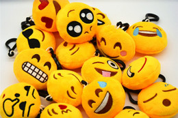 Wholesale Compass Pillow - 6cm Creative Keychain Cute Emoji Smiley Emotion Amusing Soft Stuffed Plush Yellow Round Mini Round Cushion Pillow Pendant Keychain Fash