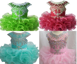 Wholesale Tea Length Wedding Dresses Organza - Luxurious New Little Girls Glitz Beaded Pageant Cupcake Dresses Infant Mini Short Skirts Toddler Tutu Girl Ruffles Dresses