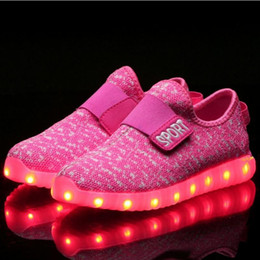 Wholesale Girls Pink Party Shoes Lace - LED Shoes Light up Colorful Flashing Boys Girls USB Charge Fluorescent Couple Shoes Party Sport Casual Shoes for Kids and Adult