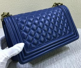 Wholesale two tone blue color weaves - Black Caviar 67086 LE BOY Bag V Shaped Genuine Leather Lambskin Flap Bag Tote Shoulder Crossbody Handbag
