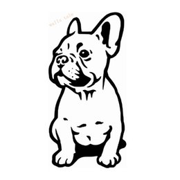 Wholesale Cartoon Dog Wall Decals - FRENCH BULLDOG WALL STICKER CAR BUMPER STICKER FRANCES DOG VINYL DECALS waterproof personalized decals Reflective stickers