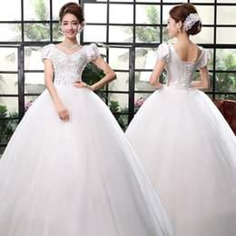 Wholesale Strapless Korean - 2017 Korean Fashion Lace Wedding Dress Crystal Simple Chinese Strapless Wedding Gown Princess Bridal Dress Made In China Free Shipping H38