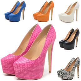 Wholesale Stiletto Heel Snake Patterns - Ladies New Style Fashionable Night Party Platform Pumps Killer High Heels Women Shoes Snake Pattern Big Size Sexy Styles US Size 4-11 D0002