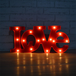 Wholesale Led Love Sign - Wholesale- Lumiparty Marquee Letters Light Red 'LOVE' Word LED Letter Sign Night Lamp Light up Letters for Home Wedding Party Decorations