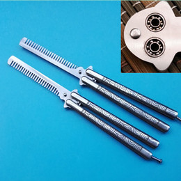 Wholesale Balisong Knife Comb - OEM best butterfly balisong cloud comb trainer 9CR18MOV ball bearing system jilt knife Free-swinging folding knives Xmas gift knife 1pcs
