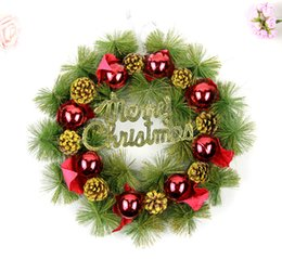 Wholesale Coned Stock - 2018 Christmas cute Pine cones 40cm wreath Red pine ball Christmas decorations present DIY Party Christmas home decor high quality wholesale