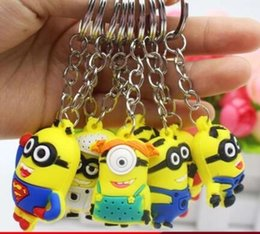 Wholesale Cute Crystal Key Chain - silicon keyring Cartoon Despicable Me Key Chain Ring Holder Cute Small Minions Figure Keychain Keyring Pendant