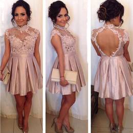Wholesale Blush Prom Homecoming Dresses - Blush Pink Short Homecoming Dresses High Neckline With Lace Applique Prom Dresses Open Back Ruffle Custom Made Formal Party Gowns 2017