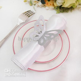 Wholesale Bridal Shower Paper - High Quality--100pcs Silver Color Vintage Style Paper Butterfly Napkin Rings Wedding Bridal Shower Napkin holder