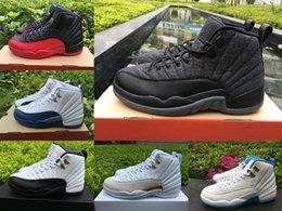 Wholesale Camp Deep - Air retro 12 men basketball shoes wool GS Barons Deep Royal Blue ovo white playoffs flu game the master sports shoes top quality