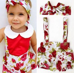 Wholesale Boutique Hair Piece - 2017 summer baby girls boutique clothing sets infant kid hair bows rose flower headbands + floral suspender shorts toddler clothes wholesale