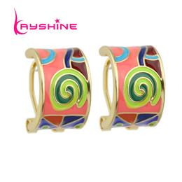 Wholesale Candy Clips - New Brand Jewelry Female Boho Earrings Enamel Candy Color Geometric Pattern Cute Hoop Earrings For Women Brincos