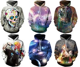 Wholesale Women Athletic Hoodies - 2017 Newest Women's Hoodies With Hat Street Sweatshirts Sports 3D Print Athletic Sweater Workout & Training Galaxy Print M~2XL