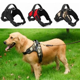Wholesale adjustable collars - Soft Adjustable Dog Harness Vest Collar Big Dog Rope Collar Hand Strap Pet Traction Rope for Small Medium Large Dogs