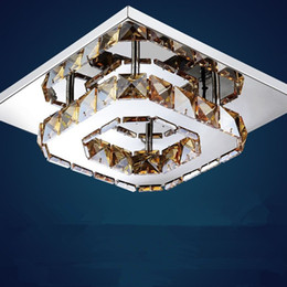 Wholesale Square Crystal Ceiling Lamp - Modern Luxury LED Ceiling light Square Transparent Amber Crystal Lustre led lamps for home aisle corridor balcony fixtures