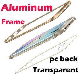 Wholesale Metal Back Iphone Case Bumper - Aluminum Metal Bumper Frame Clear Transparent Acrylic pc Back Hybrid case For iphone 5 5s se 6 6s plus Samsung galaxy s6 s7 edge plus Note 5