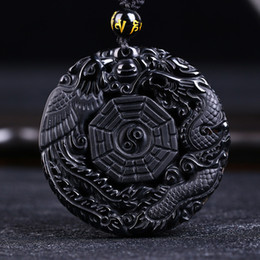 Wholesale Dragon Pendant Necklaces - Drop Shipping Black Obsidian Carving Dragon and Phoenix Necklace Pendant Obsidian Lucky Pendants