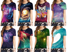 Wholesale Galaxy Women Top - 2017 Fashion Women T-shirt 3D Galaxy Print Summer Cool t shirt Street Wear Tops Tees O-neck Plus size
