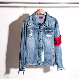 Wholesale jeans jacket wear - Hot Sale Ripped Denim Jacket 424 Cowboy Clothing For Men Hip Hop Sport Suit Winter Coat Windbreak Jacket Women Jeans Wear Free Shipping