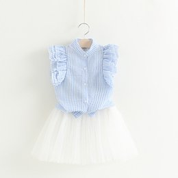 children korean clothing style Promo Codes - 2017 baby girl summer clothes sets infant toddler girl fly sleeve T-shirt+bowknot tutu skirt children korean style clothing
