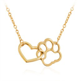 Wholesale Necklaces For Pets - Linked Heart & Paw Necklace Silver Hollow Heart shaped Pet Paw Print Pendant Necklace for Dog Owners Women Men Animal Cool Jewelry