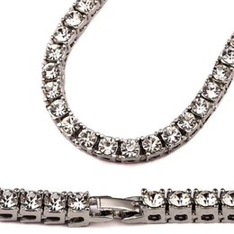 Wholesale Tennis Chains - Hip Hop Bling Iced out 1 Row Crystal Bling Bling Necklace Chain big Statement Necklaces for Men