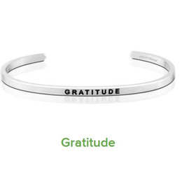 Wholesale Engraved Bracelets Men - 10 PCS Gorgeous Stainless Steel Bar Engraved GRATITUDE Positive Inspirational Quote Cuff Bracelet Bangle For women Men