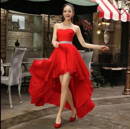 Wholesale Dress High Purple - High Low Sweetheart Beaded Bridesmaid Dress Plus Size 2017 Chiffon Party Dress Short Front Long Back Under 50
