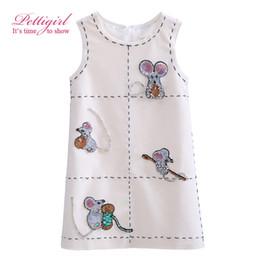 Wholesale Sleeveless For Summer Cartoon - Pettigirl 2017 New Girls Tank Dress White Sleeveless Cartoon Mouse Printing For Girls Kids Clothing G-DMGD908-853